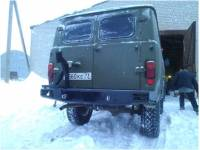 Бампер силовой задний Аллигатор на УАЗ 452 с квадратом по фаркоп и калиткой запасного колеса